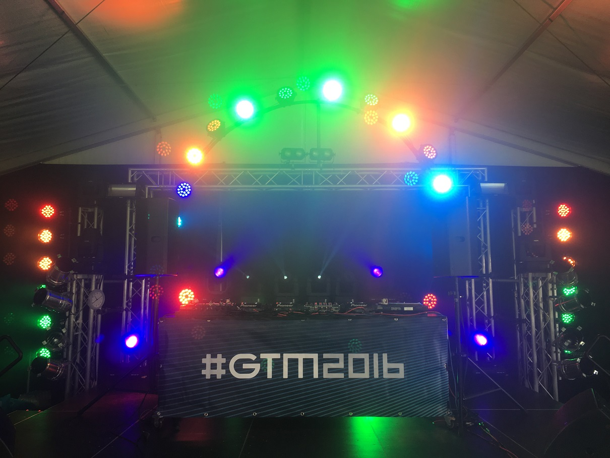 Groove lights and banner